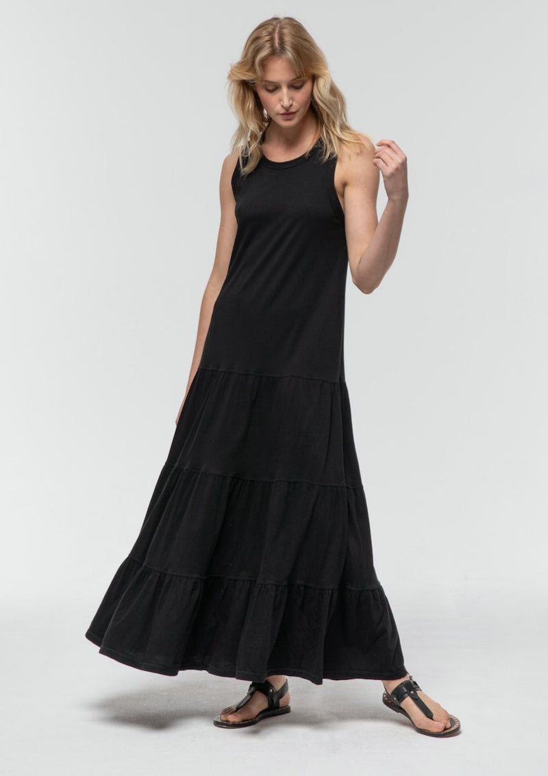 Sleeveless Tiered Dress in Black - Miles From