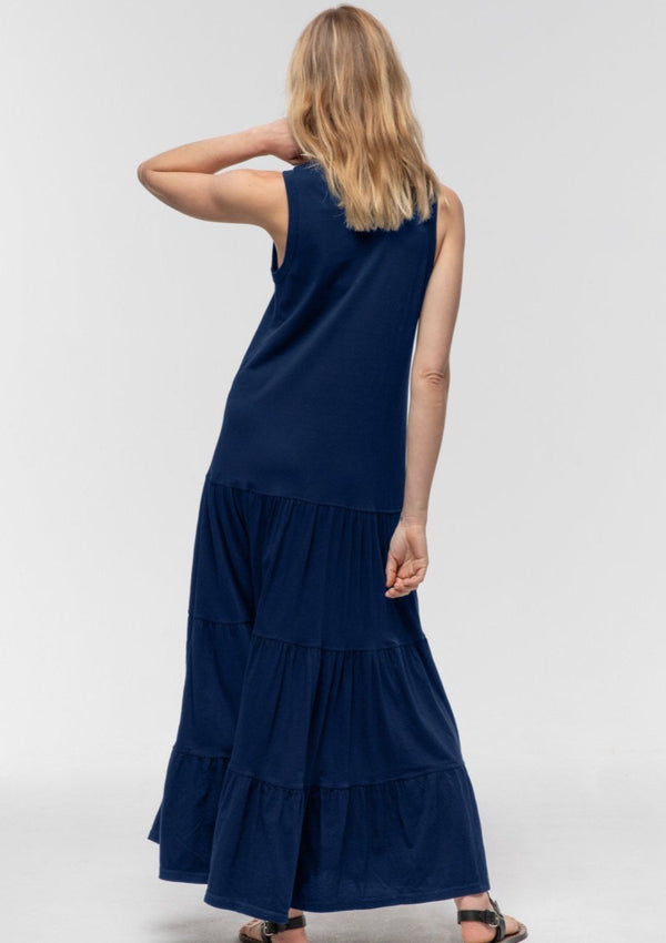 Sleeveless Tiered Dress in Navy - Miles From