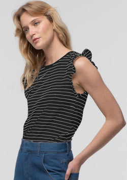 Striped Frill Sleeve Tank in Black - Miles From