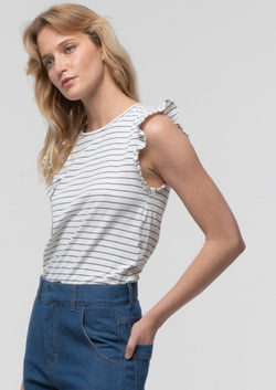 Striped Frill Sleeve Tank in Natural - Miles From