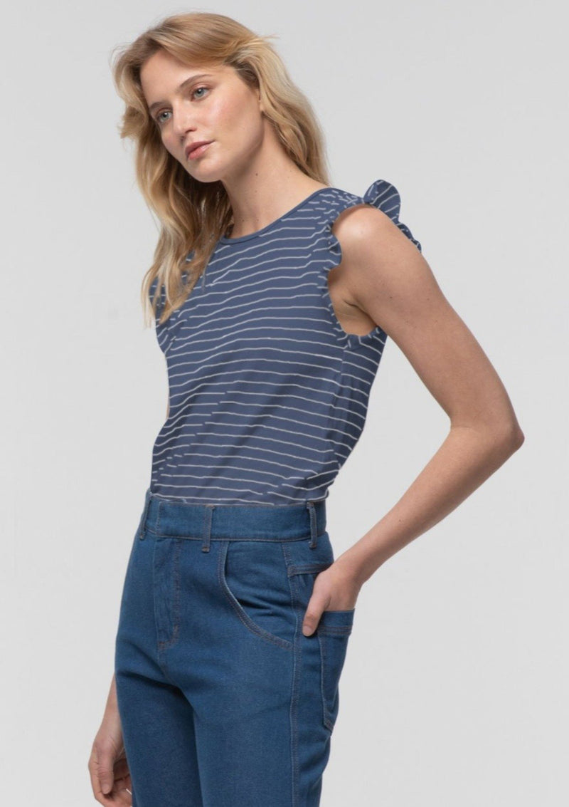 Striped Frill Sleeve Tank in Perriwinkle - Miles From