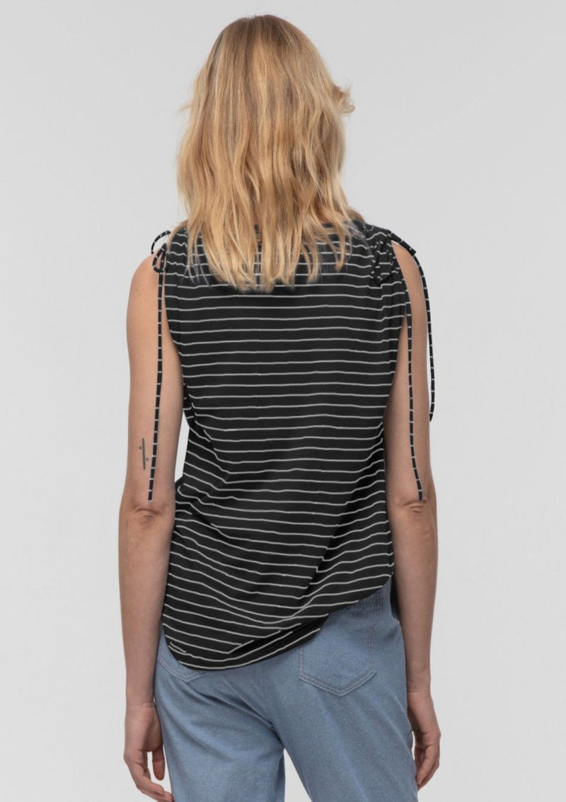 Striped Tie Shoulder Tee in Black - Miles From