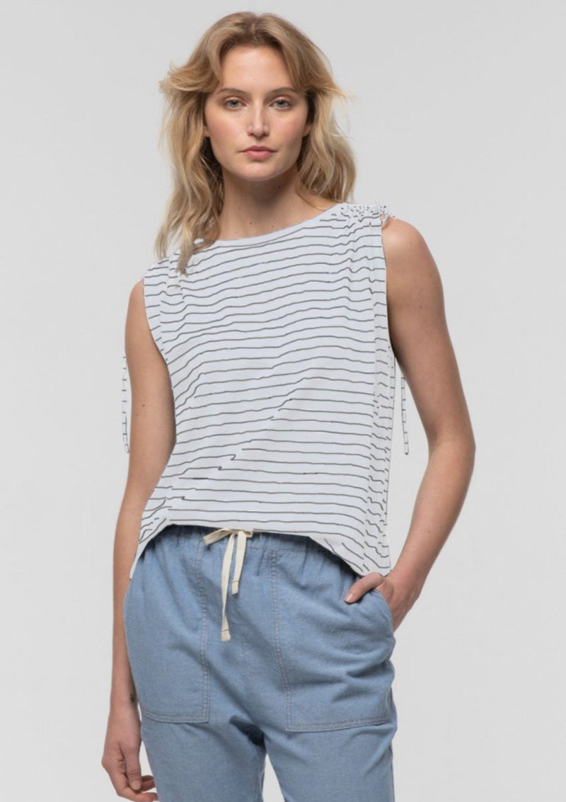 Striped Tie Shoulder Tee in Natural - Miles From