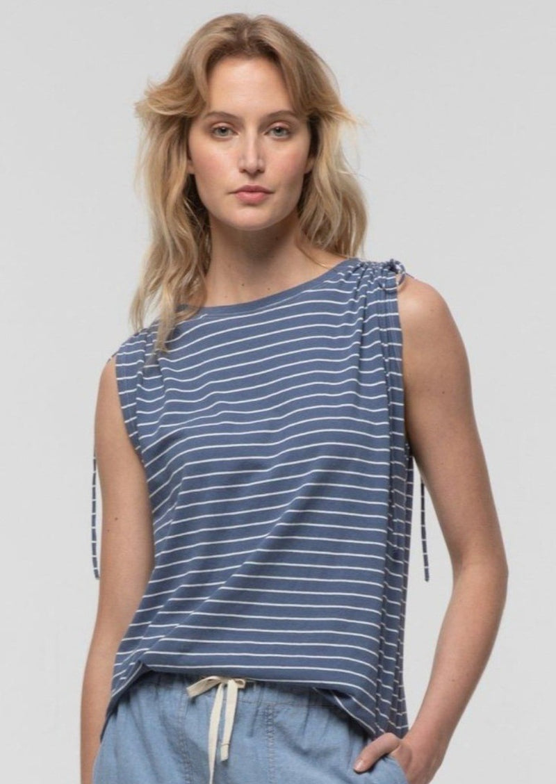 Striped Tie Shoulder Tee in Perriwinkle - Miles From