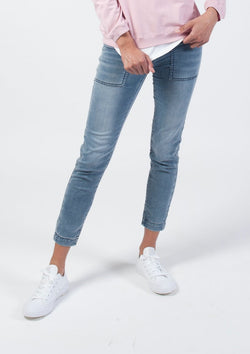 Superstretch Drawstring Skinny Jean in Light Wash Denim - Miles From