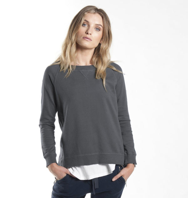 Sweat - Raw Edge Rib Sweat In Charcoal