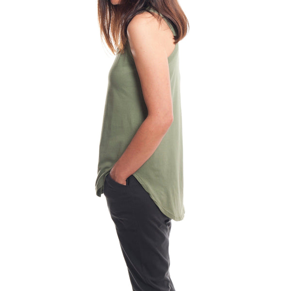 T-Shirt - Relaxed Racerback Tank In Khaki