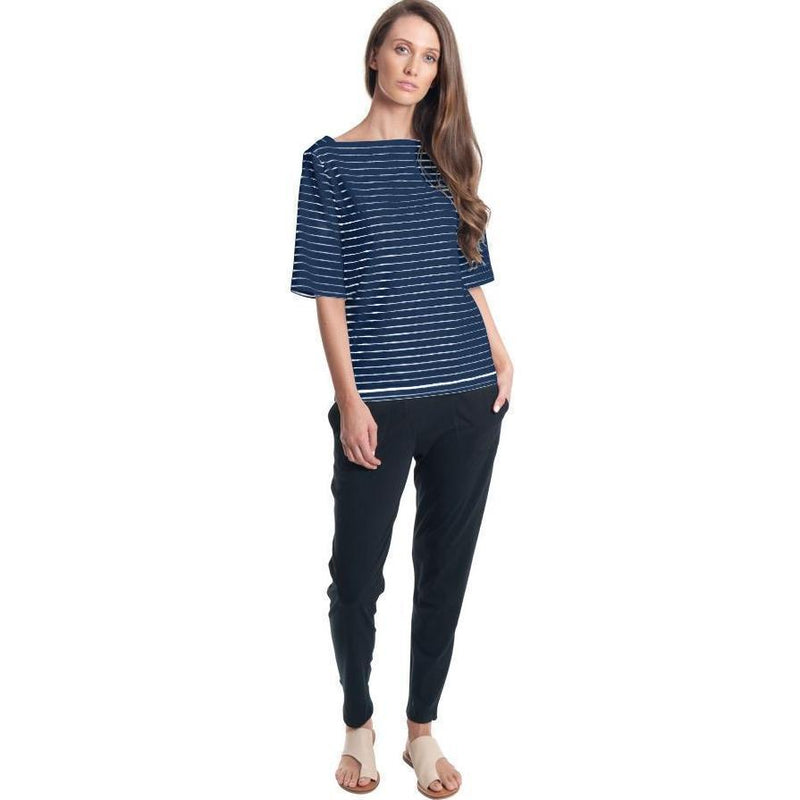 T-Shirt - Striped Boatneck Elbow Tee