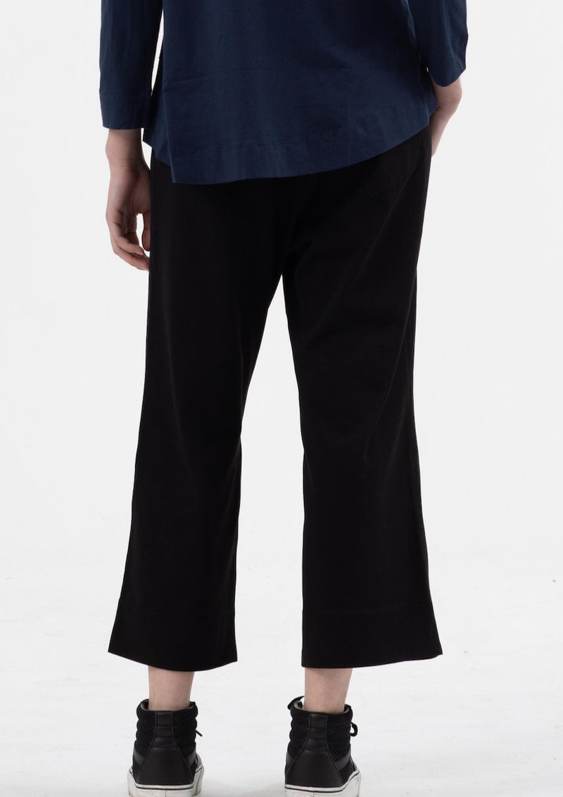 Three Quarter Length Wide Leg Pant in Black - Miles From