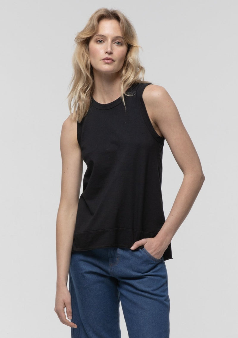 Tie Back Tank in Black - Miles From
