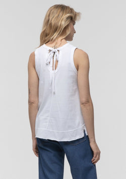 Tie Back Tank in White - Miles From