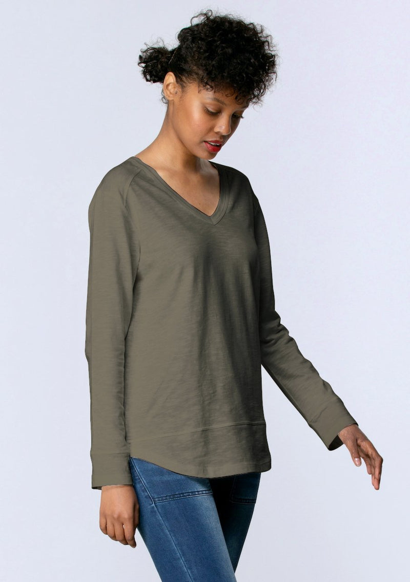 V Neck Stitch Panel Tee in Khaki - Miles From