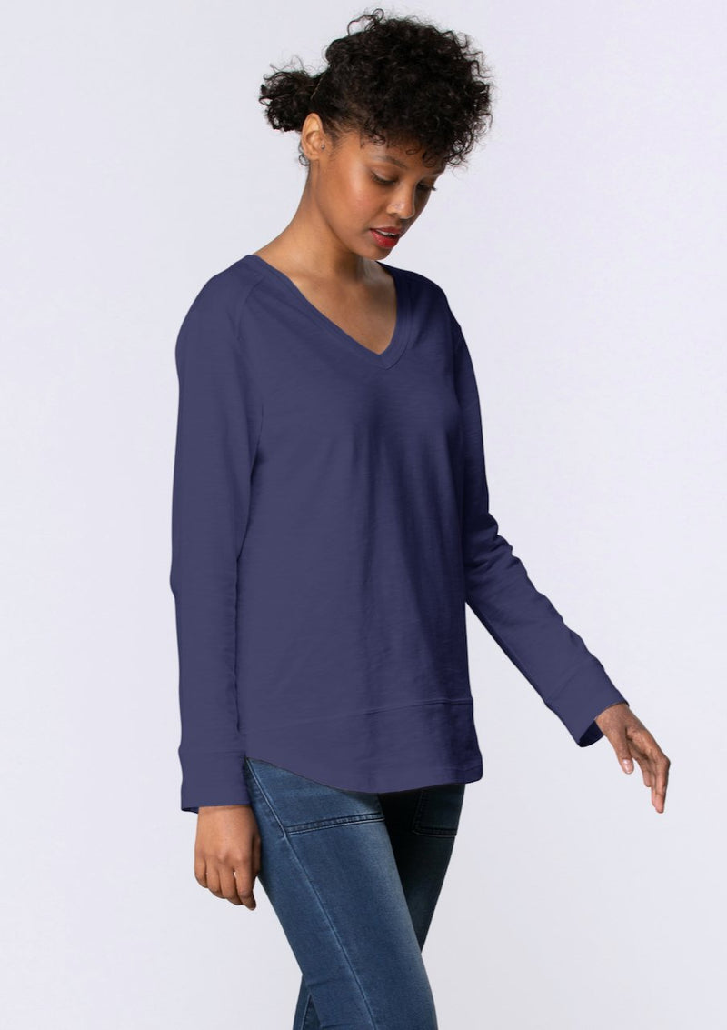 V Neck Stitch Panel Tee in Midnight - Miles From