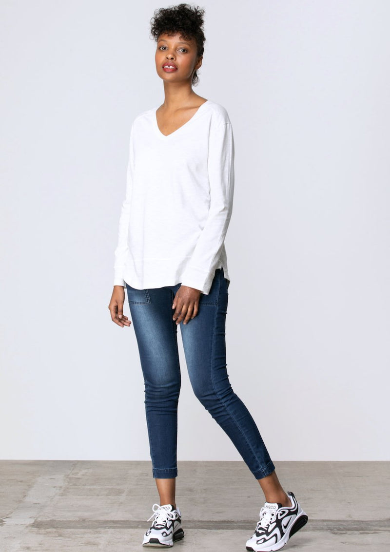 V Neck Stitch Panel Tee in White - Miles From