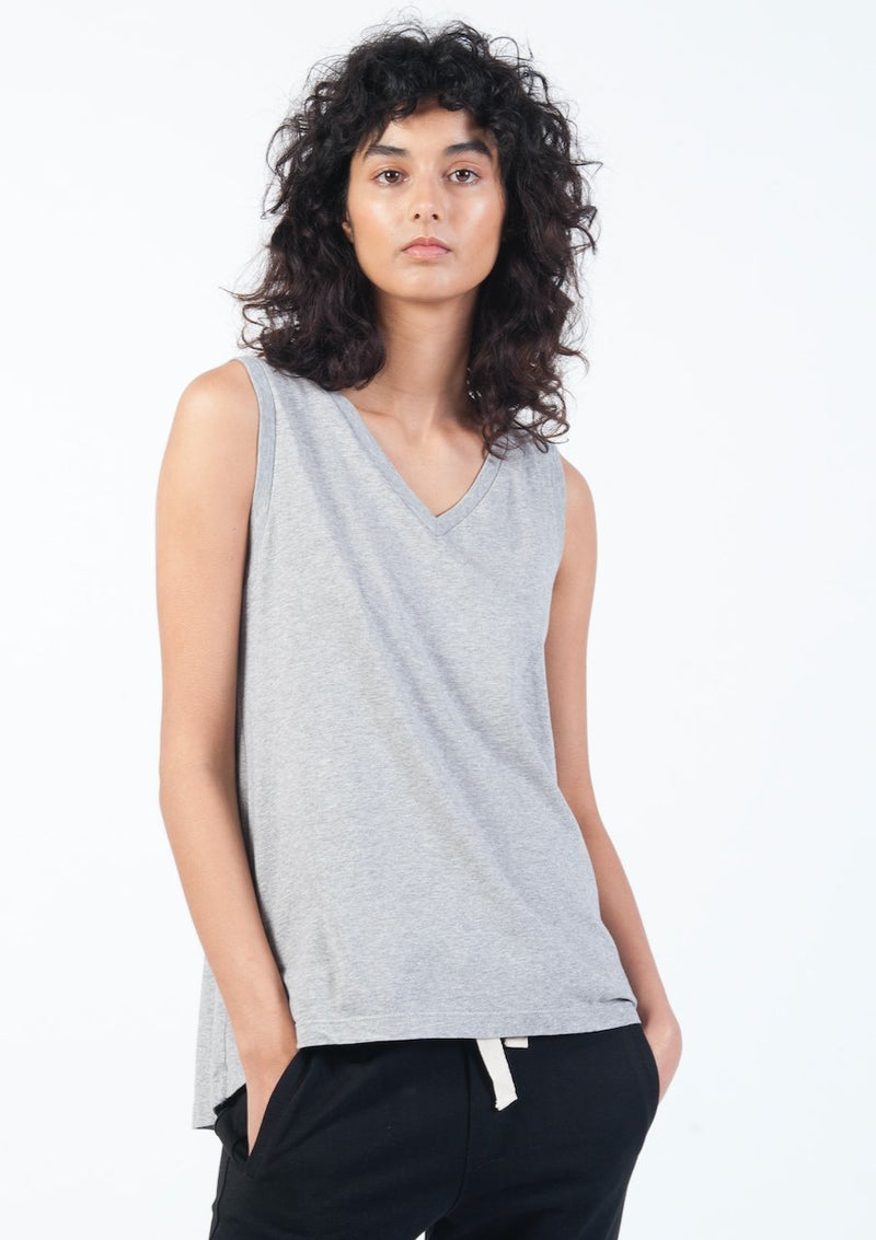 V-Neck Tank in Grey Marle - Miles From