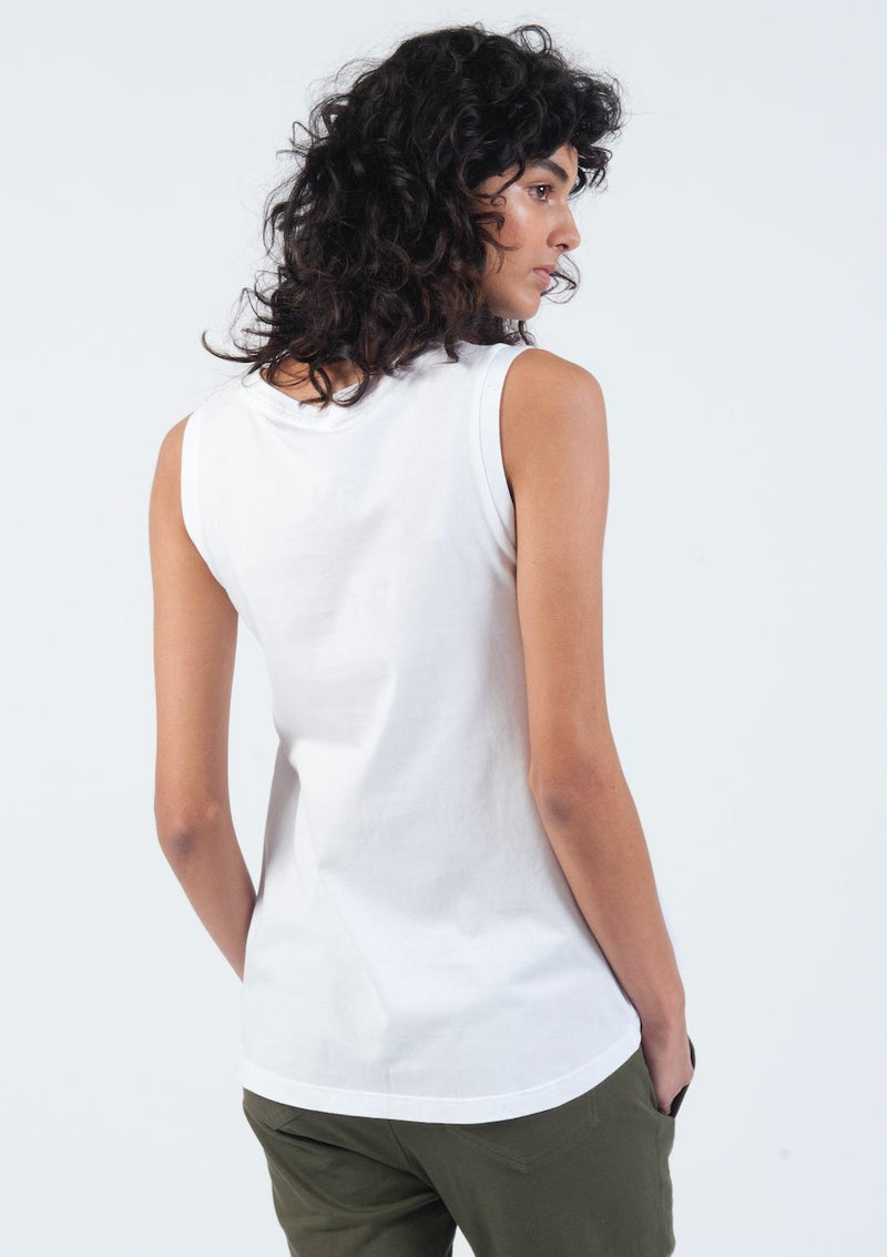 V-Neck Tank in White - Miles From