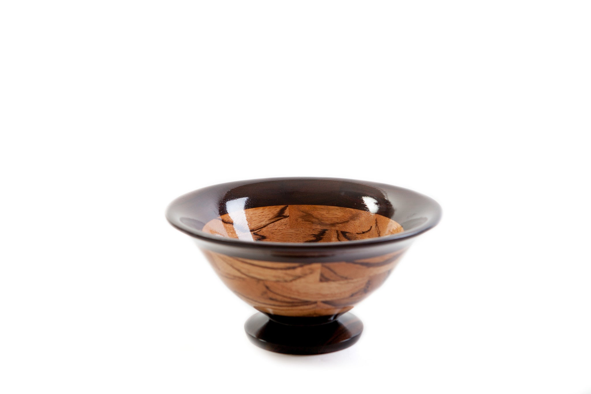 Richard Ruehle Segmented Zebrawood and Macassar Ebony Wood Bowl