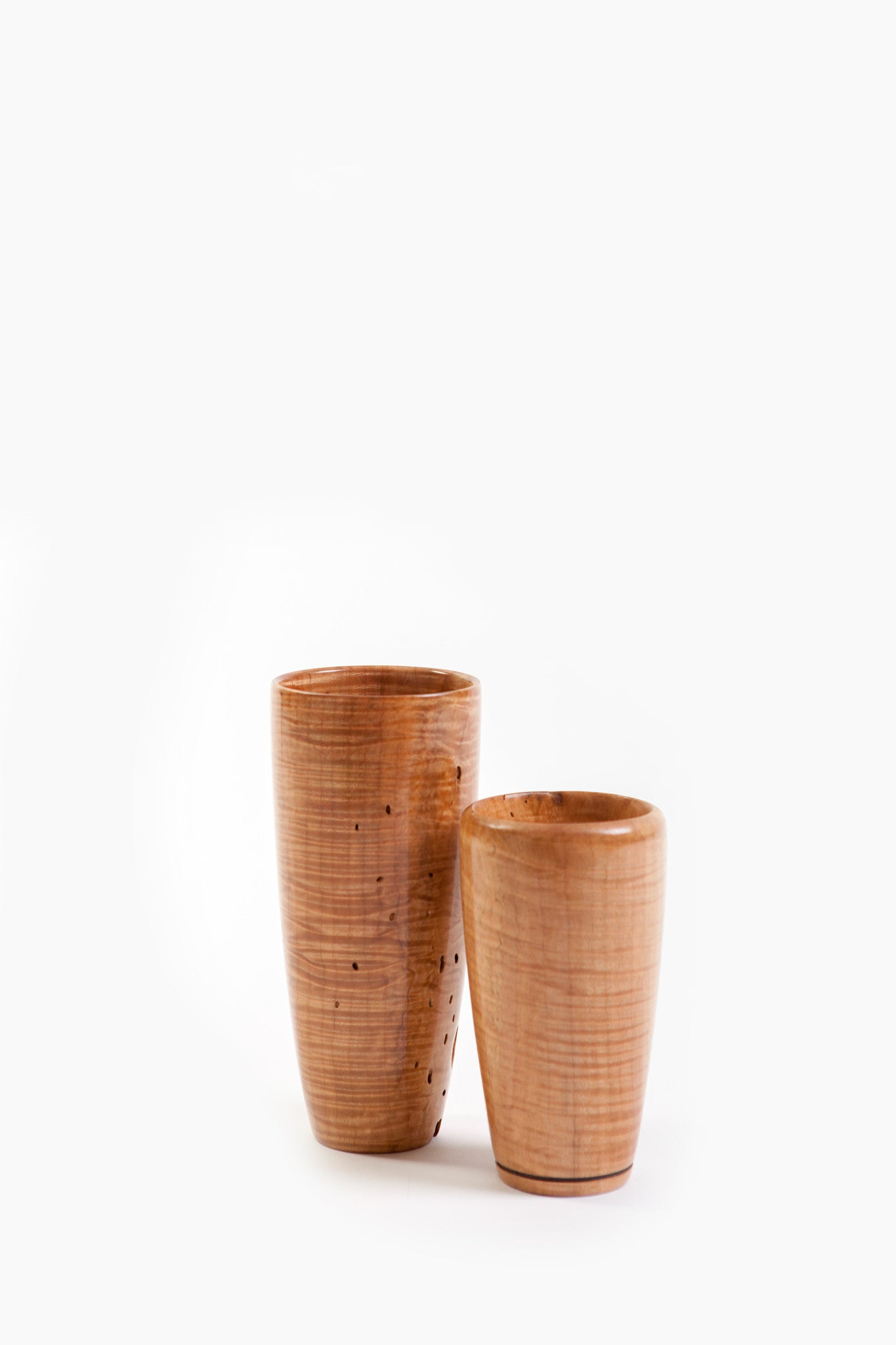 Richard Ruehle Curly Maple Wooden Vases (Tall and Medium)