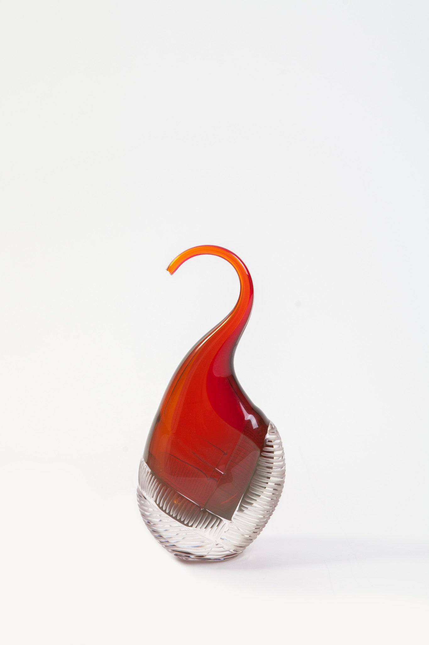 Brien Strancar Dipped and Cut Red Wiggler Glass Sculpture (2013)