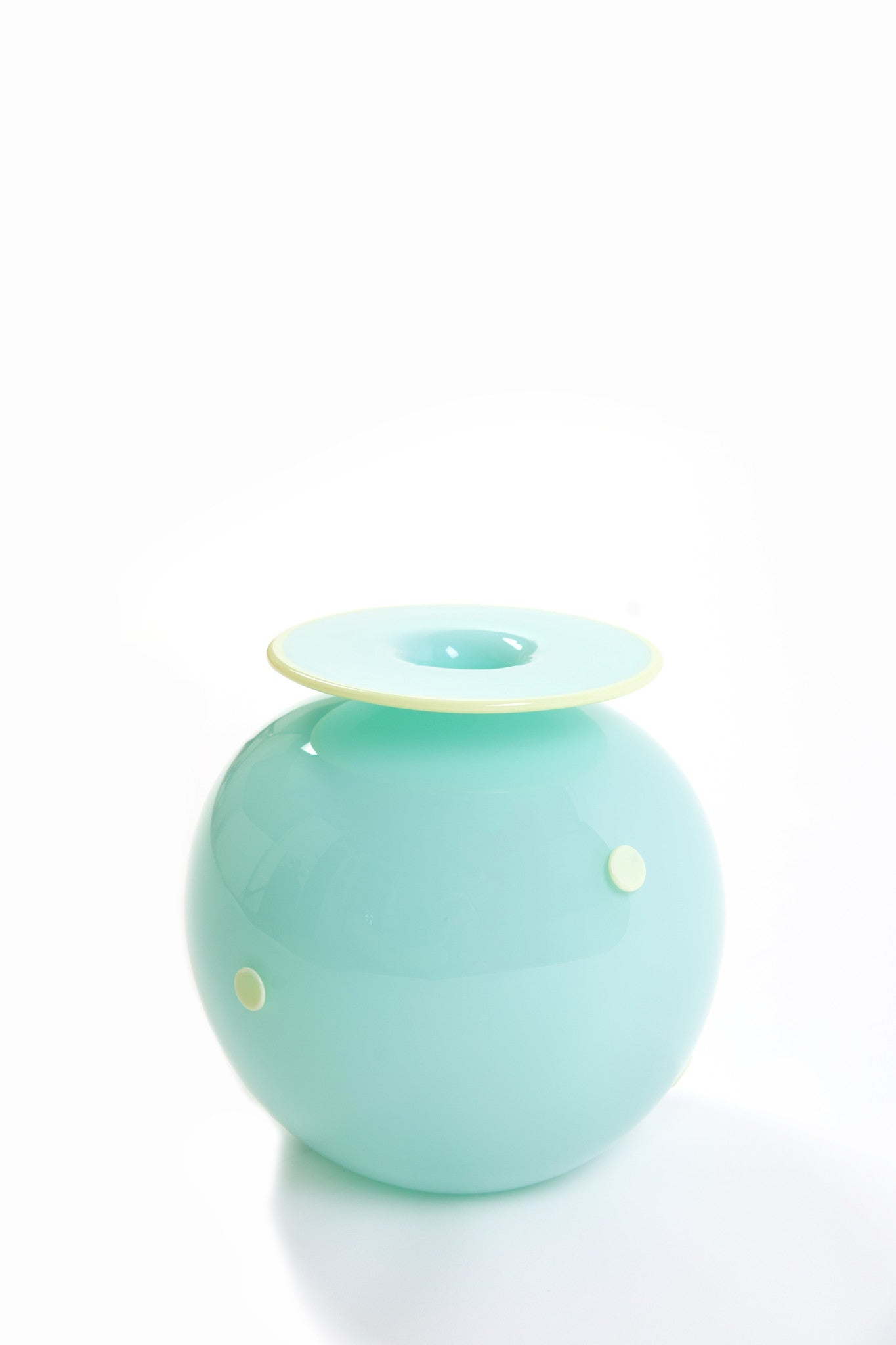 Two Tone Studios Large Celadon Hand Blown Glass Vase with Dots