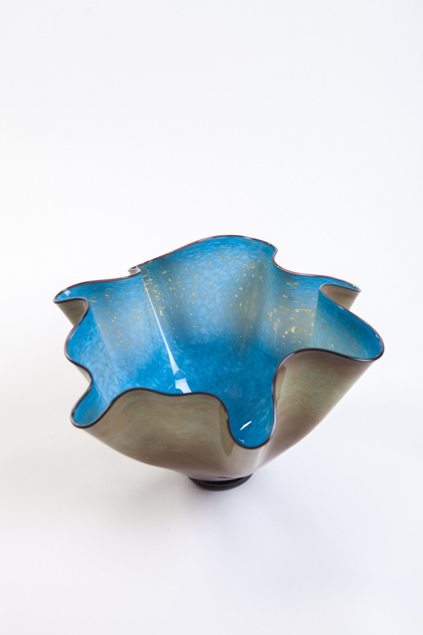 Brian Becher Large Blue and Earthtone Glass Wave Bowl