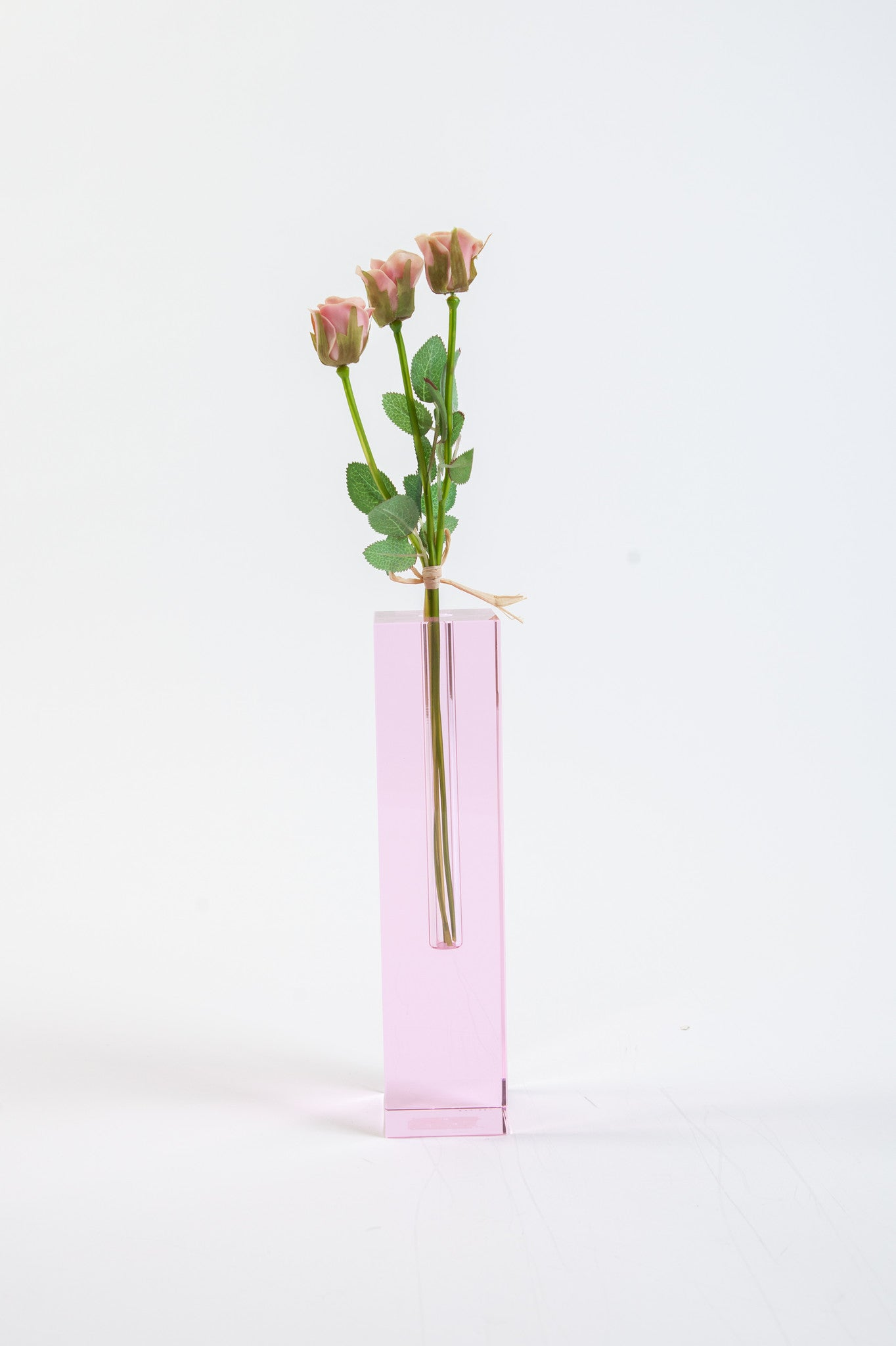 Rose Colored Crystal Glass Bud Vase