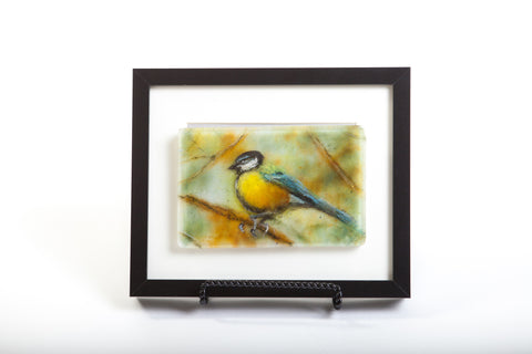 "Odette Monaghan ""Bird on a Branch"" Fused Glass Picture"
