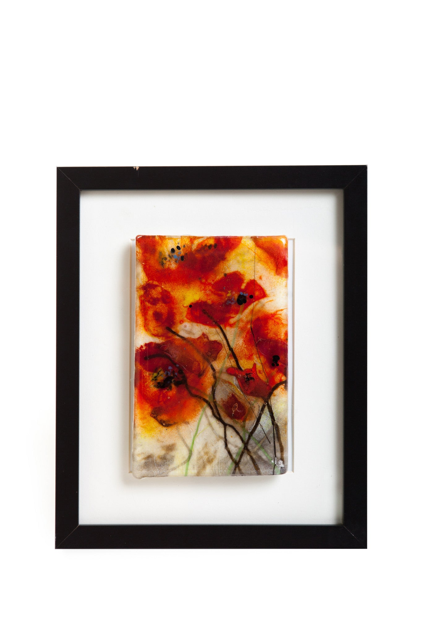 "Kristen Dukat ""Poppies"" Fused Glass Picture"