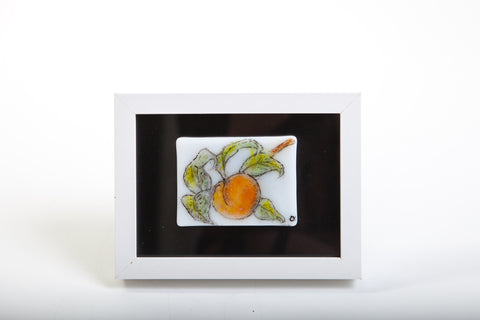 "Odette Monaghan ""One Peach"" Fused Glass Painting"