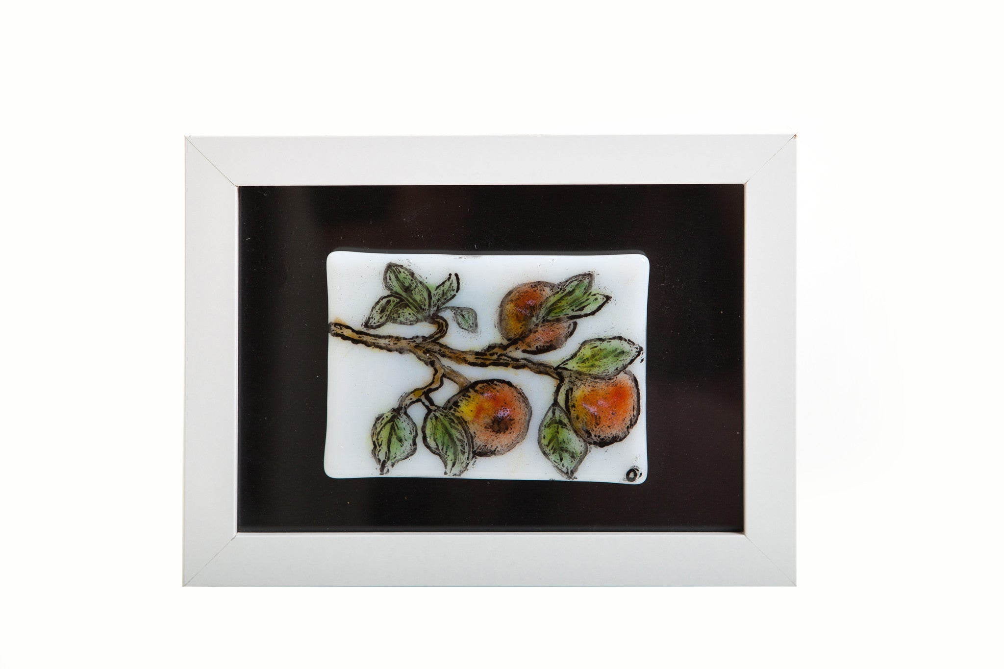"Odette Monaghan ""Peach Branch"" Fused Glass Picture"