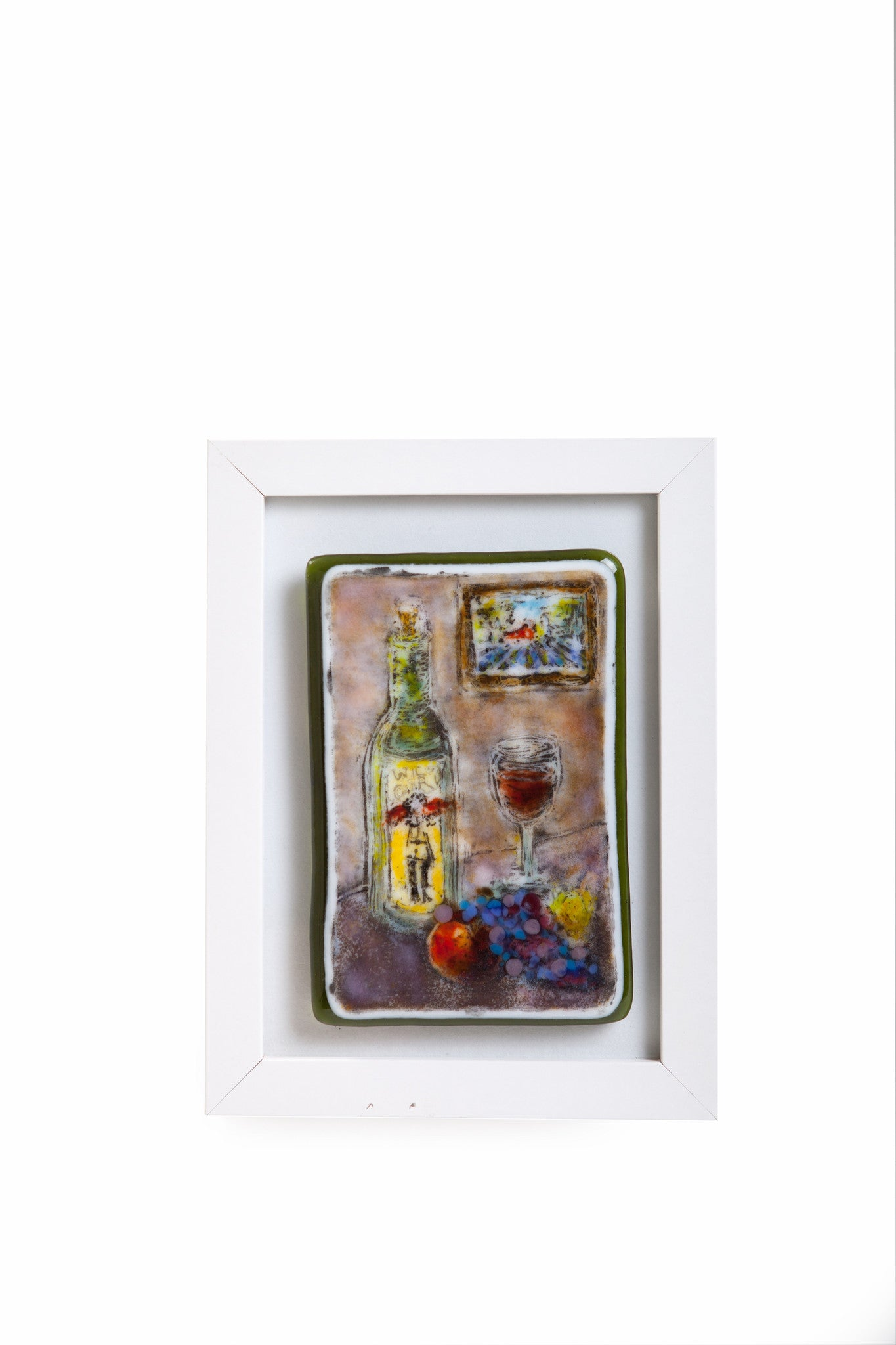 "Kristen Dukat ""Wild Girl Wine"" Fused Glass Still Life"