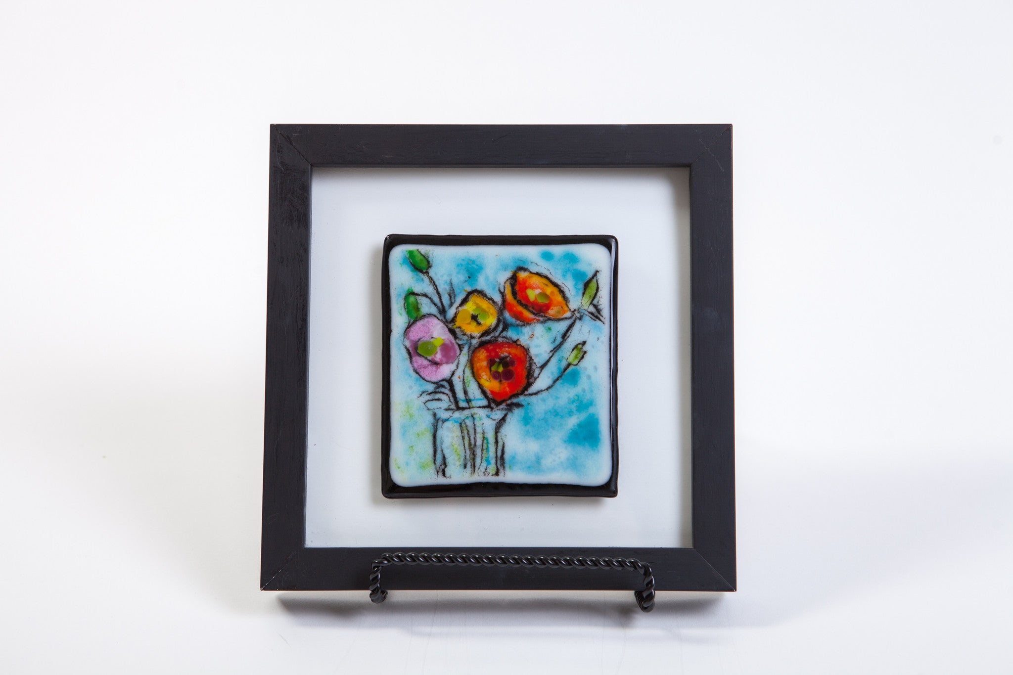 "Kristen Dukat ""Multicolor Poppies"" Fused Glass Picture"