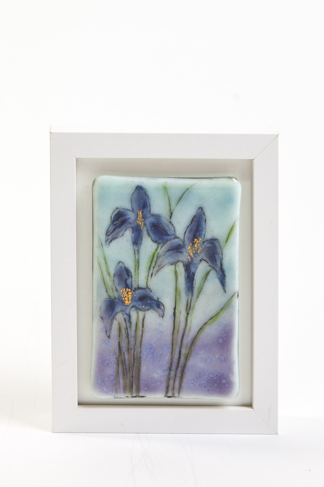 "Odette Monaghan ""Irises"" Fused Glass Picture"