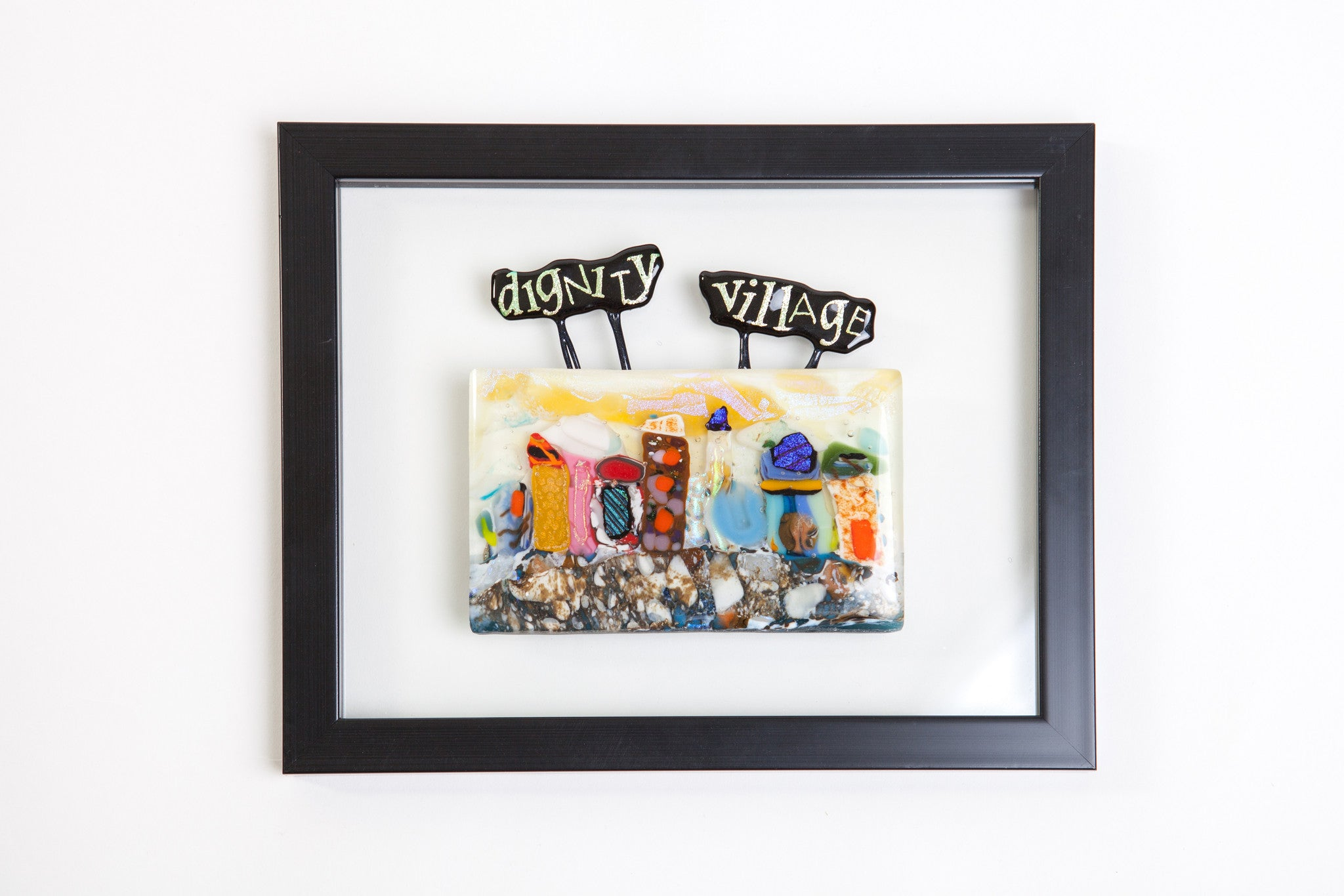 "Kristen Dukat ""Dignity Village"" Fused Glass Picture"