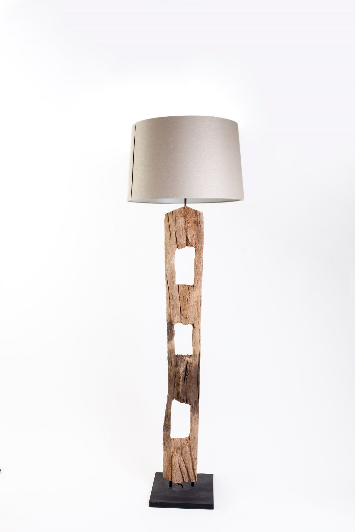 Fence Rail Floor Lamp with Bleached Course Tan Linen Shade