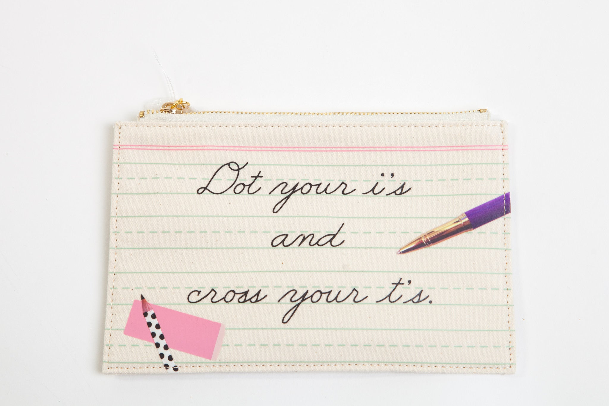 "Kate Spade New York Pencil Pouch ""Dot your i's"""
