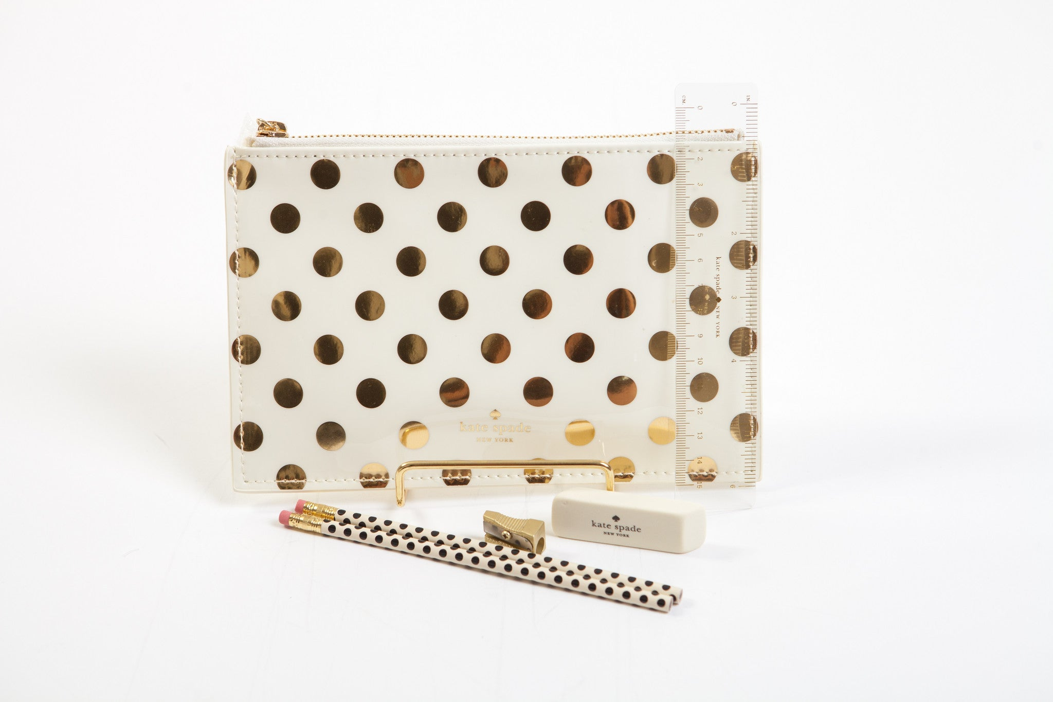 "Kate Spade New York Pencil Pouch ""Gold Dots"""
