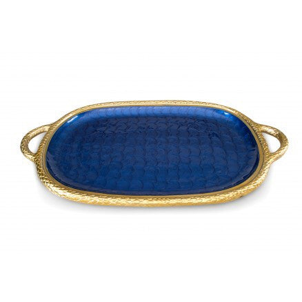 "Julia Knight 22.5"" Florentine Gold Handled Tray"