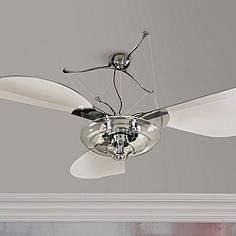 58 Inch Polished Chrome & Acrylic Ceiling Fan w/Light