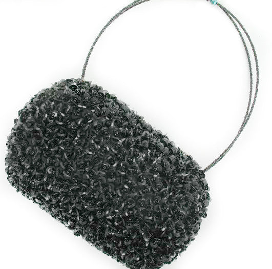 Suzie Blue Black Sequin Barrel Bag