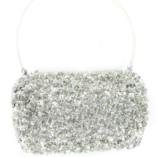 Suzie Blue Silver Sequin Barrel Bag