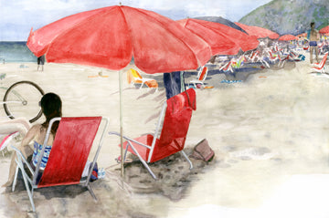 "Barb Hahn: ""Red Umbrellas"" Fine Art Print"