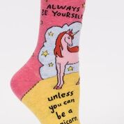 "Woman's novelty fun crew sock with legend: ""Always Be Yourself, Unless You Can Be A Unicorn"""