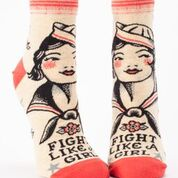 BlueQ Women's Ankle Socks: Fight Like A Girl
