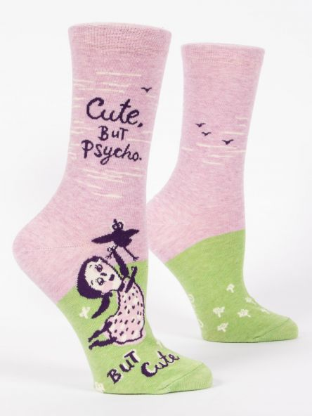 "Woman's novelty fun crew sock with legend: ""Cute. But Psycho"""