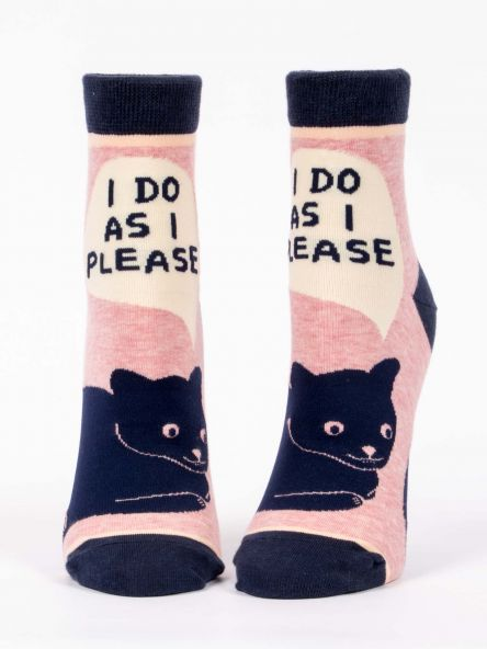 "Woman's novelty fun ankle sock with legend: ""I Do As I Please"""