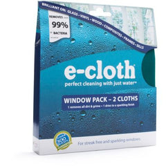The window pack includes a waffle style microfiber cloth to remove dirt and grime from the inside and outside of windows and frames. The second polishing cloth dries glass to a sparkling smear-free finish, using just water spray. E-cloths can be washed 300 times and still retain their unique cleaning properties.
