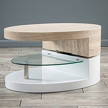 Oval Mod Swivel Top Coffee Table with Glass Shelf