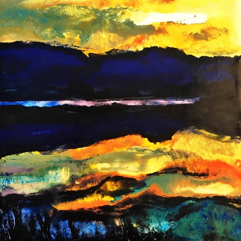 "Beth Genson ""Blue Horizon"" Encaustic Painting"