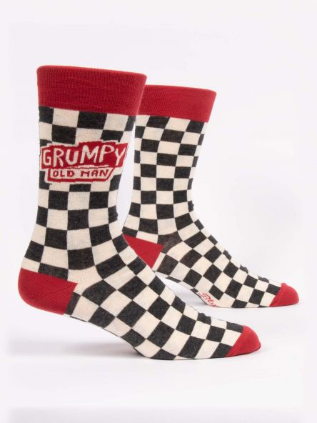 BlueQ Men's Crew Sock: Grumpy Old Man